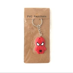 Spiderman Keychain PVC New Red Silver Marvel